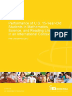 Performance of U.S. 15-Year-Old Students in Mathematics, Science, and Reading Literacy in an International Context-First Look at PISA 2012