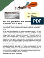 20% Dos Paraibanos Tem Menos de Um Ano de Estudo, Revela IBGE