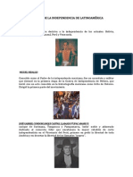ACTORES DE LA INDEPENDENCIA DE LATINOAMÉRICA