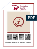 Information Handbook for Dentistry Candidates - July 2012