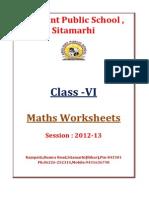 VI Maths-Workshe