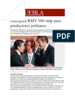 30-11-2013 Milenio.com - Entregará RMV 100 mdp para productores poblanos