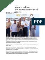 29-11-2013 Puebla on Line - RMV gestiona 100 mdp en microcréditos ante Financiera Rural para productores