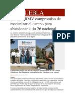 29-11-2013 Milenio.com - Cumple RMV Compromiso de Mecanizar El Campo Para Abandonar Sitio 26 Nacional