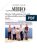 29-11-2013 Diario Matutino Cambio de Puebla - Moreno Valle gestiona 100 mdp en Microcréditos ante Financiera Rural