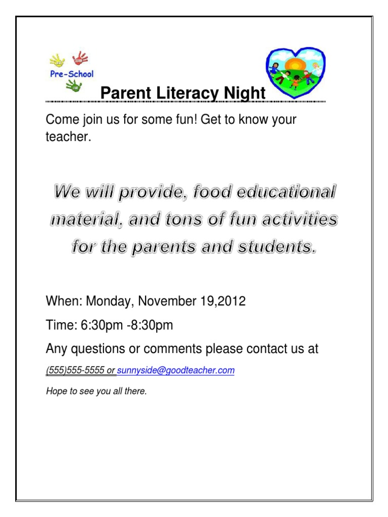 Parent Literacy Night Literacy Vocabulary