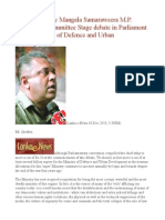 Speech Made by Mangala Samaraweera M.P. Opening the Committee Stage Debate in Parliament on the Ministry of Defence and Urban Development