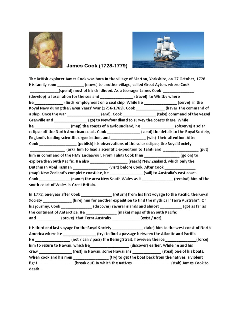 Mixed tenses in context exercise | Pacific Ocean | James Cook