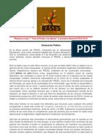 Declaración Pública Lista 1 FEUV 2014 - Todo el Poder a las Bases - 02 de Diciembre de 2013