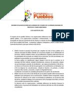 I Informe de DDHH Agosto 2013-Congreso de Los Pueblos