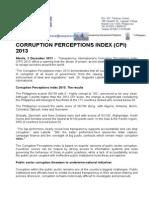 CORRUPTION PERCEPTIONS INDEX (CPI) Press Release 2013