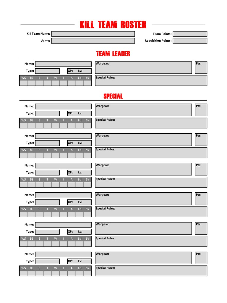 Kill team roster fillable v1 2 for Military recall roster template