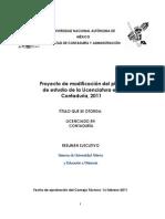 Proyecto de modificación del plan de estudio de la licenciatura en contaduría