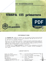 Vespa Piaggio 125 Primavera Operation & maintenance