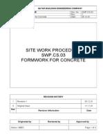 Form Work for Concrete-Method Statement