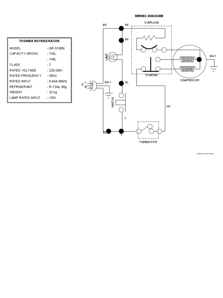 Toshiba Refrigerator Gr S180n Wiring Diagram Refrigeration Schematic