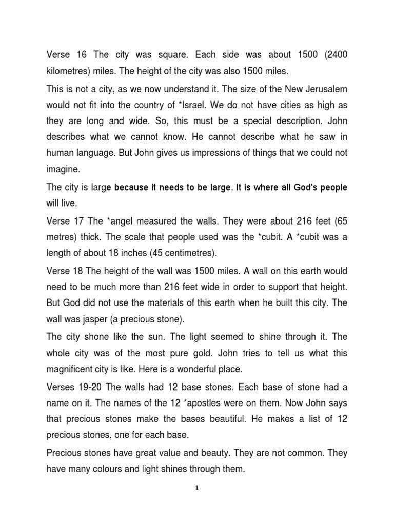 Revelation Chapter 21 Vrs. 16-27 | Religious Texts | Jesus