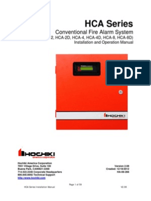 Hca D Series Conventional Panel Manual V2 08 Mains Electricity
