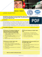 Certified OHSAS 18001 Lead Auditor - Four Page Brochure