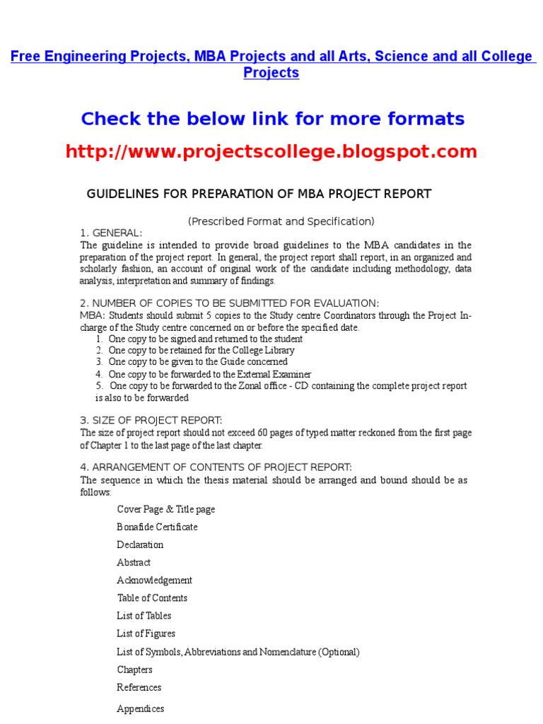 Project Format For Mba   Http://projectscollege.blogspot.com/ | Thesis |  Typefaces