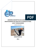 MEMORIA DESCRIPTIVA DEL SISTEMA DE ABASTECIMIENTO DE AGUA EN LA CIUDAD DE PUNO[1].pdf