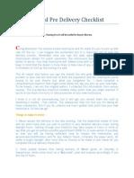 Royal Enfield Pre Delivery Checklist