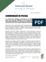 Une étude de définition et de pré-programmation pour la valorisation touristique et culturelle du château de Portes grâce au concours financier de la Région Languedoc-Roussillon.