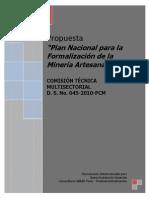 Plan Nacional Para La Formalizacion de La Mineria Artesanal