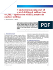 Health, safety and environment policy of Crosco, integrated drilling & well services co., ltd. – application of HSE practice in onshore drilling