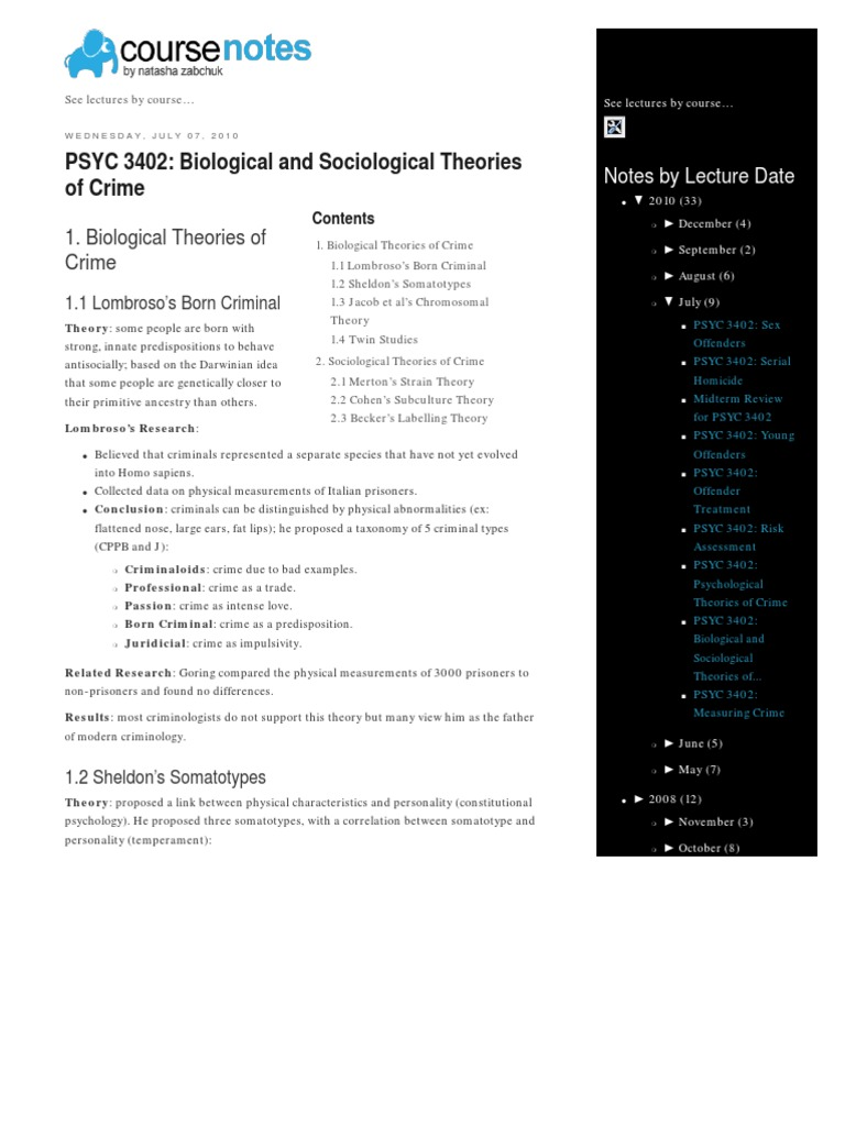 Natasha Zabchuk's Course Notes PSYC 3402 Biological and