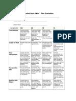 collaborative work skills rubric