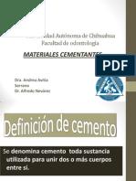 Materiales cementantes en odontología