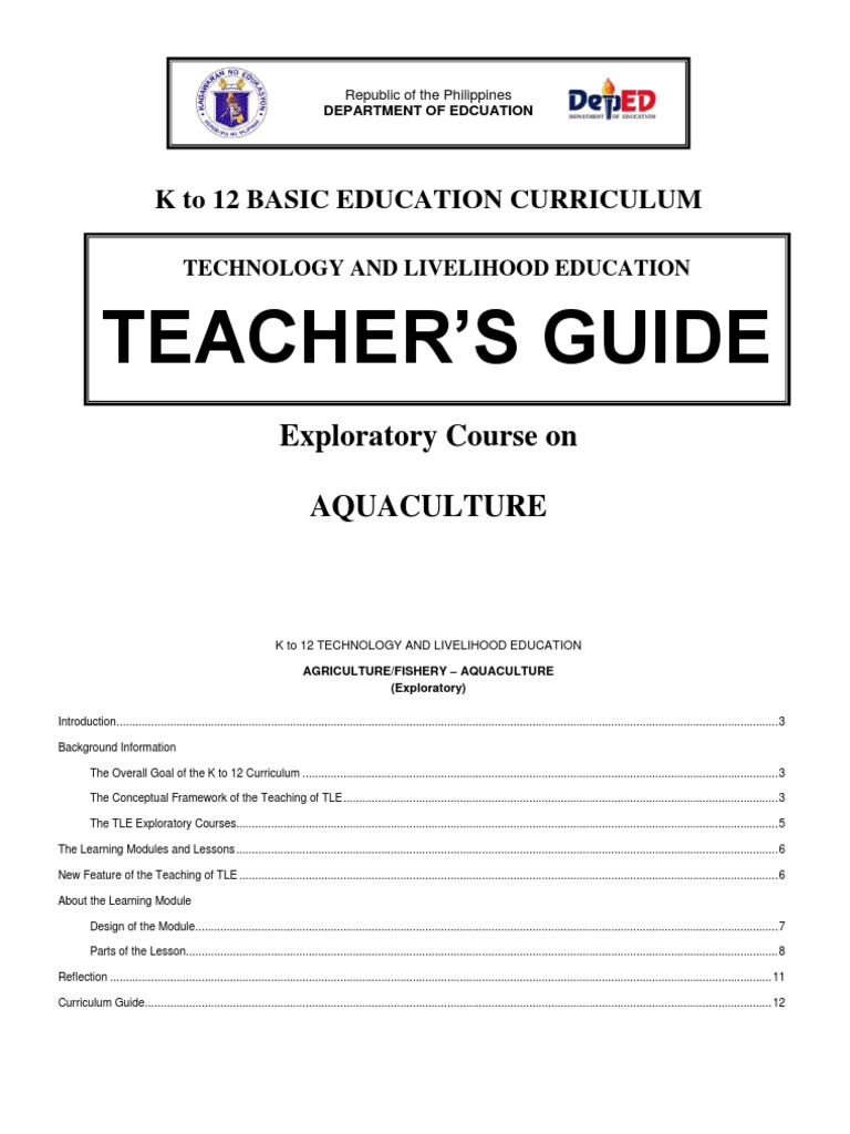 k to 12 Aquaculture Teacher's Guide | Curriculum | Educational
