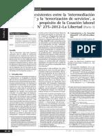 Diferencias existentes entre la 'intermediación laboral' y  tercerizacion