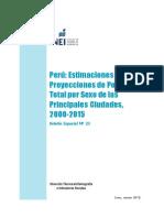 Perú, Estimaciones y Proyecciones de Población Total por Sexo de las Principales Ciudades 2000-2015