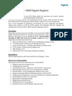 Job Description O&M Support Engineer