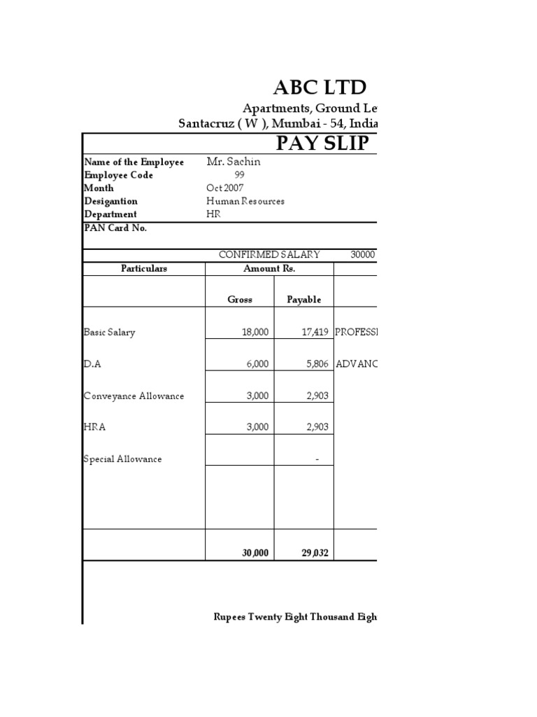 Salary Slip Format 136 – Sample Payslip Format Doc