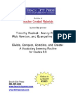 Reading Skills - Divide, Conquer, Combine and Create Vaocabulary Learning Routine