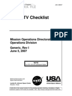 NASA Space Shuttle Photo - TV Systems Checklist