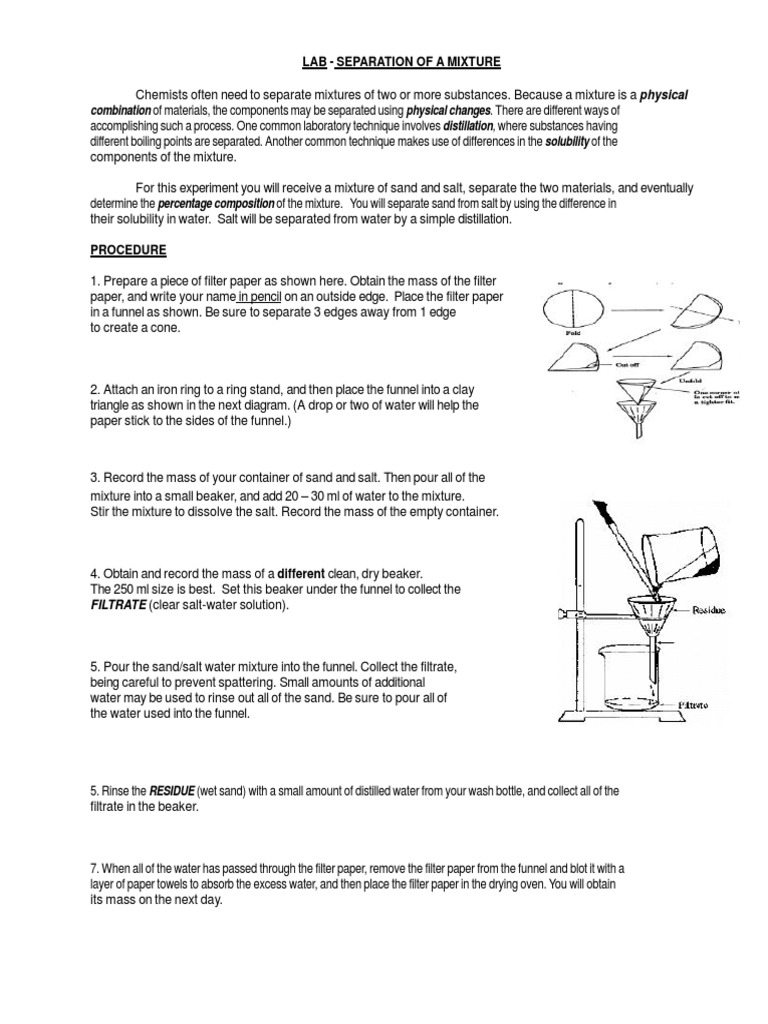 Worksheet Separation Mixturedocx Filtration – Percent Yield Worksheet