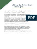 Slovakian Flying Car Makes Short Test Flight