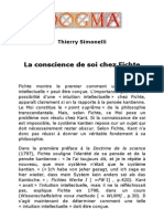 La Conscience de Soi Chez Fichte [Thierry Simonelli]