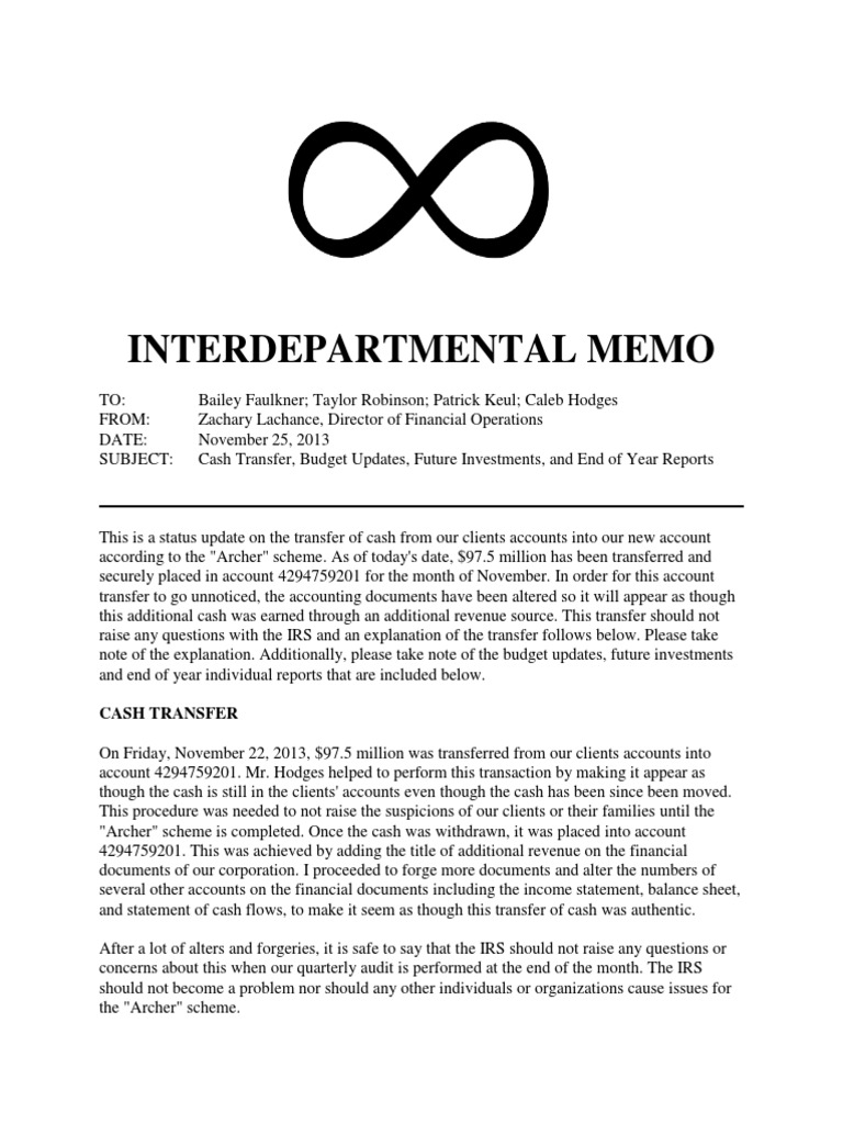 interdepartmental memo 1 internal revenue service business