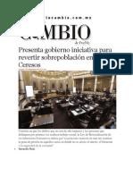 05-12-2013 Diario Matutino Cambio de Puebla - Presenta gobierno iniciativa para revertir sobrepoblación en Ceresos