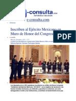 04-12-2013 e-consulta.com - Inscriben al Ejército Mexicano en Muro de Honor del Congreso