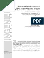 Estudio de la degradación de la capa de sellado en perfiles de aluminio anodizado