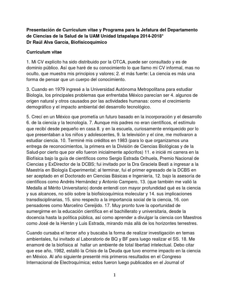 Texto de Curriculum vitae y Programa para la Jefatura del ...