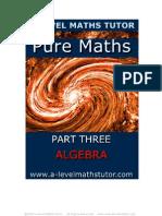 E-Book 'Pure Maths Part Three - Algebra' from A-level maths Tutor