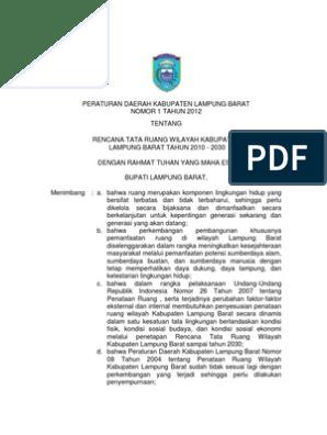 Peraturan Daerah Kabupaten Lampung Barat Nomor 1 Tahun 2012 Tentang Rencana Tata Ruang Wilayah Kabupaten Lampung Barat Tahun 2010 2030