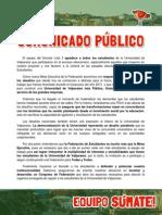 Comunicado Público Ampliado Súmate de Lista 3 FEUV 2014